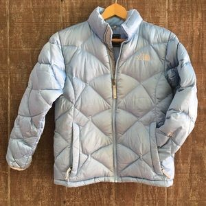 North Face Baby Blue Down Puffer Coat XS